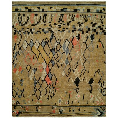 Hug Hand Knotted Wool Gold Area Rug Rug Size: Runner 26 x 10