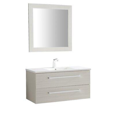 Cuisinox 39 Single Bathroom Vanity Set with Mirror Base Finish: White