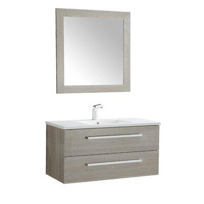 Cuisinox 39 Single Bathroom Vanity Set with Mirror Base Finish: Gray