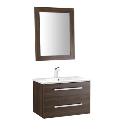 Cuisinox 30 Single Bathroom Vanity Set with Mirror Base Finish: Brown
