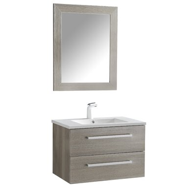 Cuisinox 30 Single Bathroom Vanity Set with Mirror Base Finish: Gray