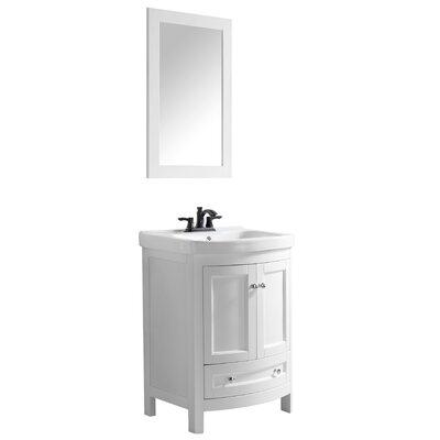 Craddock 24 Single Bathroom Vanity Set with Mirror Base Finish: White