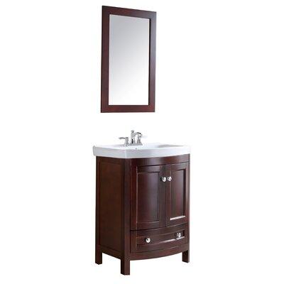 Craddock 24 Single Bathroom Vanity Set with Mirror Base Finish: Walnut