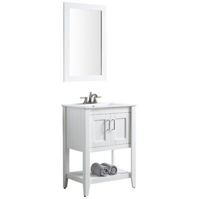 Elkin 24 Single Bathroom Vanity Set with Mirror Base Finish: White