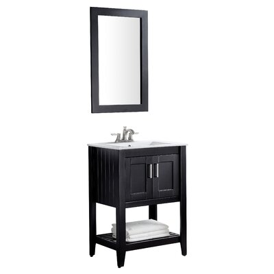 Elkin 24 Single Bathroom Vanity Set with Mirror Base Finish: Black