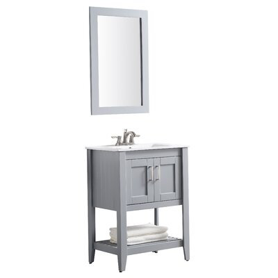 Elkin 24 Single Bathroom Vanity Set with Mirror Base Finish: Gray