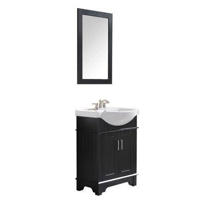 Paulene 24 Single Bathroom Vanity Set with Mirror Base Finish: Black