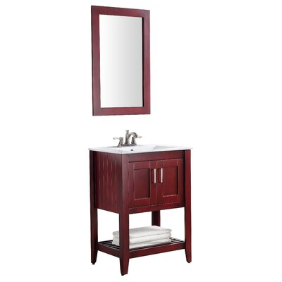 Elkin 24 Single Bathroom Vanity Set with Mirror Base Finish: Red Cherry