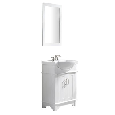 Paulene 24 Single Bathroom Vanity Set with Mirror Base Finish: White