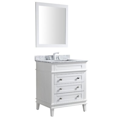 Yves 30 Single Bathroom Vanity Set with Mirror Base Finish: White