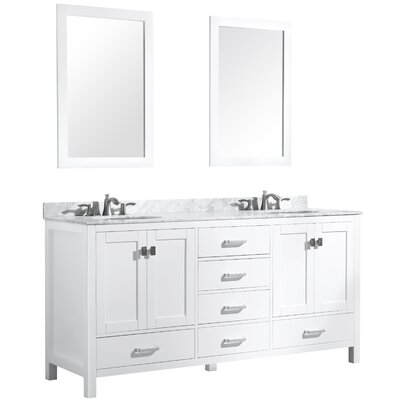 Tia 72 Double Bathroom Vanity Set with Mirror Base Finish: White