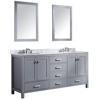 Tia 72 Double Bathroom Vanity Set with Mirror Base Finish: Black