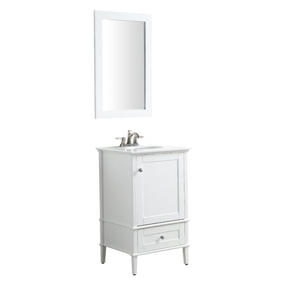 Peckham 21 Single Bathroom Vanity Set with Mirror Base Finish: White