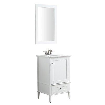 Peckham 21 Single Bathroom Vanity Set with Mirror Base Finish: White