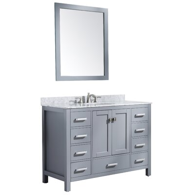 Tia 48 Single Bathroom Vanity Set with Mirror Base Finish: Gray