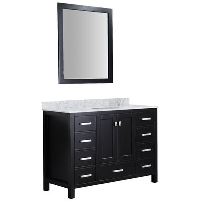 Tia 48 Single Bathroom Vanity Set with Mirror Base Finish: Black