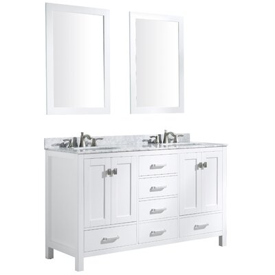 Tia 60 Double Bathroom Vanity Set with Mirror Base Finish: White