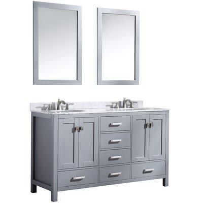 Tia 60 Double Bathroom Vanity Set with Mirror Base Finish: Gray