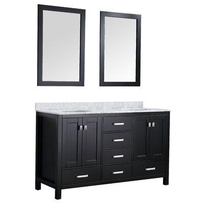 Tia 60 Double Bathroom Vanity Set with Mirror Base Finish: Black