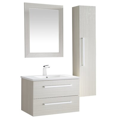 Cuisinox 30 Single Bathroom Vanity Set with Mirror Base Finish: White