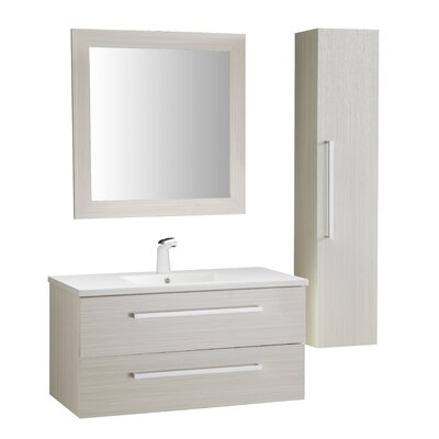 Cuisinox 39 Single Bathroom Vanity Set with Mirror Base Finish: White