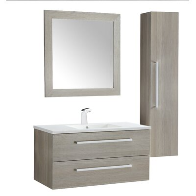 Cuisinox 39 Single Bathroom Vanity Set with Mirror Base Finish: Gray