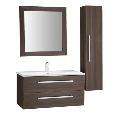 Cuisinox 39 Single Bathroom Vanity Set with Mirror Base Finish: Brown