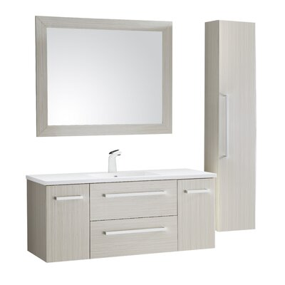 Cuisinox 48 Single Bathroom Vanity Set with Mirror Base Finish: White