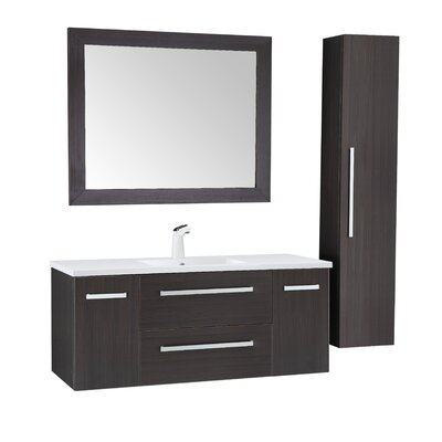 Cuisinox 48 Single Bathroom Vanity Set with Mirror Base Finish: Umber