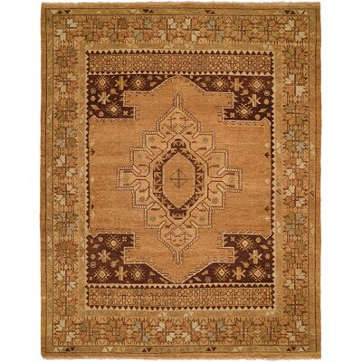 Elisa Hand-Knotted Wool Tan Area Rug Rug Size: Rectangle 4' x 6'