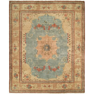 McGovern Hand Knotted Wool Blue/Ivory Area Rug Rug Size: Rectangle 9 x 12