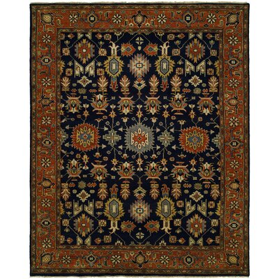 Dhairya Hand Knotted Wool Navy/Rust Area Rug Rug Size: Rectangle 10' x 14'