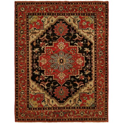 Martingale Hand Knotted Wool Black/Rust Area Rug Rug Size: Rectangle 4' x 6'