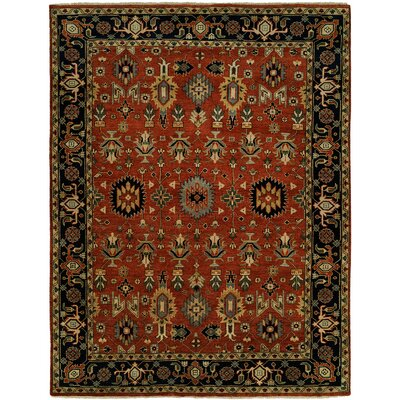 Doreen Hand Knotted Wool Rust/Black Area Rug Rug Size: Rectangle 3 x 5