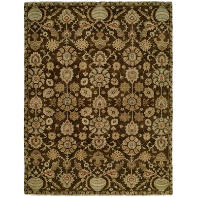 Lora Hand Knotted Wool Brown/Beige Area Rug Rug Size: Rectangle 4 x 6
