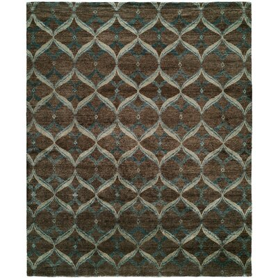 Heaney Hand-Knotted Brown Area Rug Rug Size: Rectangle 4 x 6