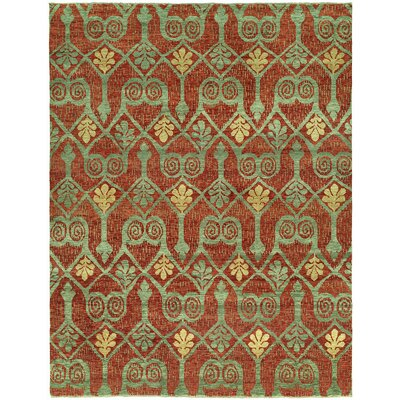 Hacking Hand Knotted Wool Red/Green Area Rug Rug Size: Rectangle 9 x 12