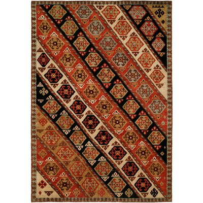 Hickenbottom Hand Knotted Wool Rust/Black Area Rug Rug Size: Runner 2'6