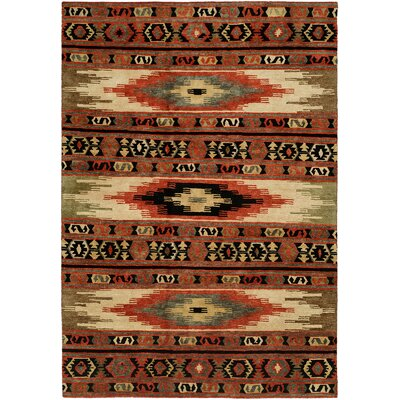 Savanna Hand-Knotted Wool Red Area Rug Rug Size: Rectangle 8 x 10