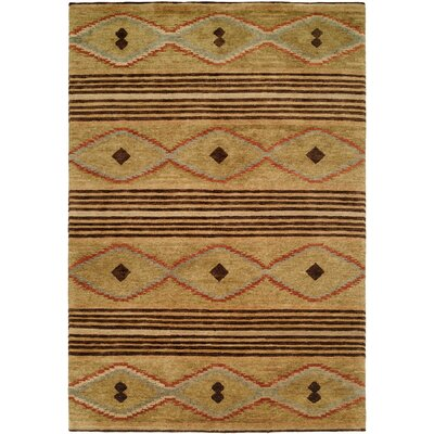 Daryl Hand-Knotted Wool Beige Area Rug Rug Size: Rectangle 9 x 12