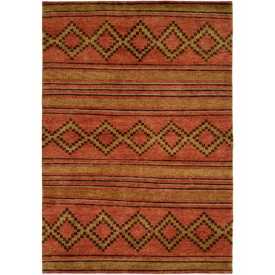 Torri Hand-Knotted Wool Terracotta Area Rug Rug Size: Rectangle 4 x 6