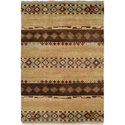 Shayla Hand-Knotted Wool Brown Area Rug Rug Size: Rectangle 9 x 12