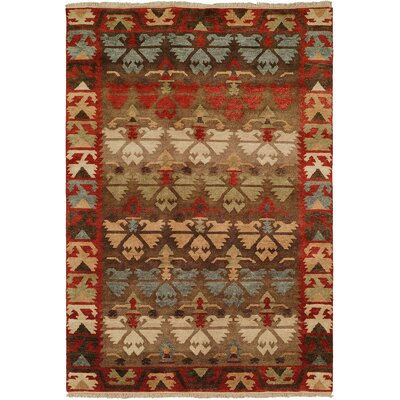 Sonia Hand-Knotted Wool Brown Area Rug Rug Size: Rectangle 4 x 6