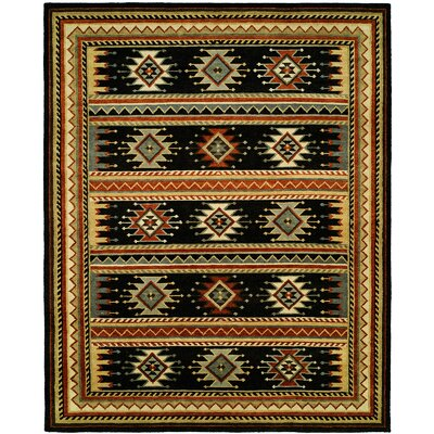 Curwood Hand-Knotted Wool Black Area Rug Rug Size: Rectangle 9 x 12
