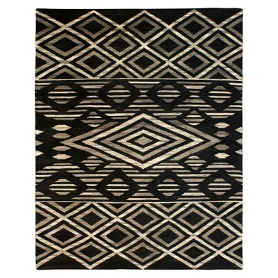 Rochester Hand-Knotted Wool Black Area Rug Rug Size: Rectangle 9 x 12