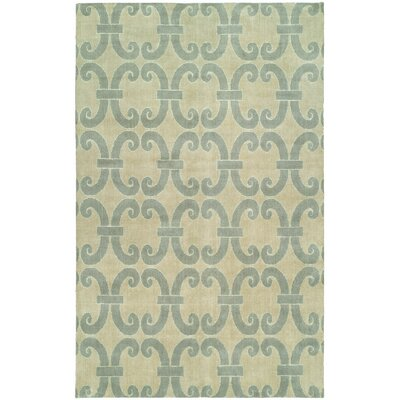 Andover Hand-Knotted Wool Beige/Blue Area Rug Rug Size: Rectangle 2 x 3