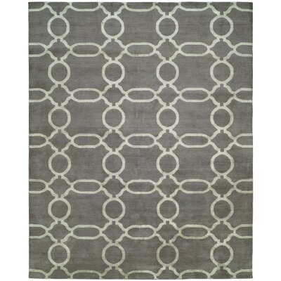 Avila Hand-Knotted Wool Gray Area Rug Rug Size: Rectangle 6 x 9