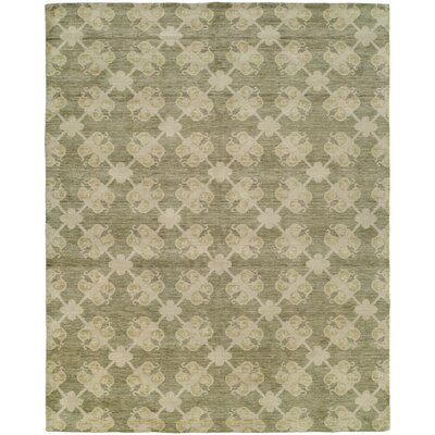 Candide Hand-Knotted Wool Green/Beige Area Rug Rug Size: Rectangle 6 x 9