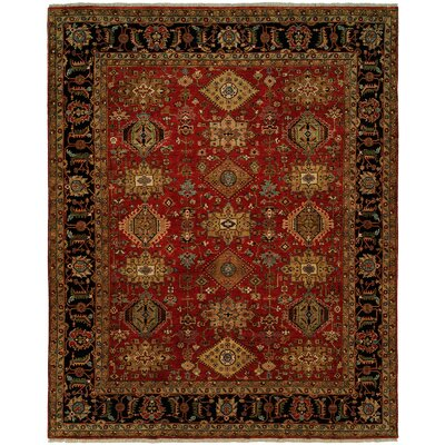 Mcmahon Hand Knotted Wool Red/Black Area Rug Rug Size: Round 6