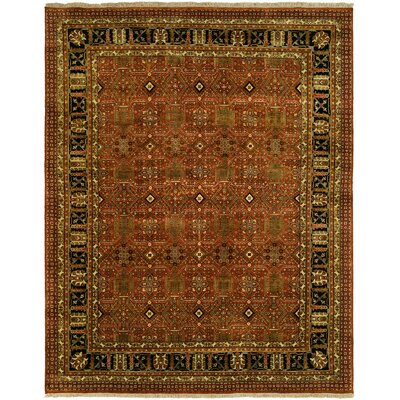 Mazon Hand Knotted Wool Rust/Black Area Rug Rug Size: Round 8